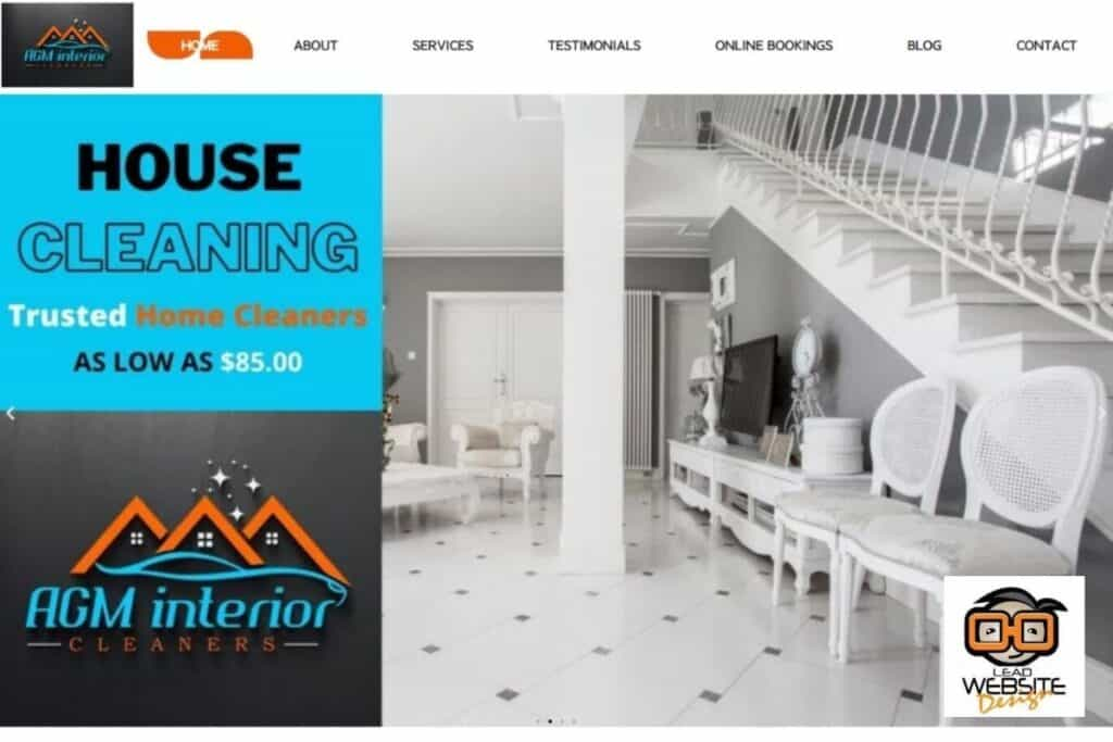 agm interior cleaners website design project