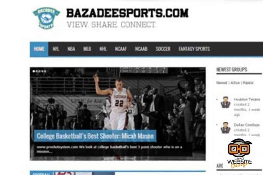 bazadee sports website design project