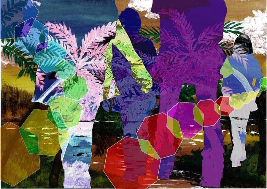 colorful silhouettes of girls tetsuya koja