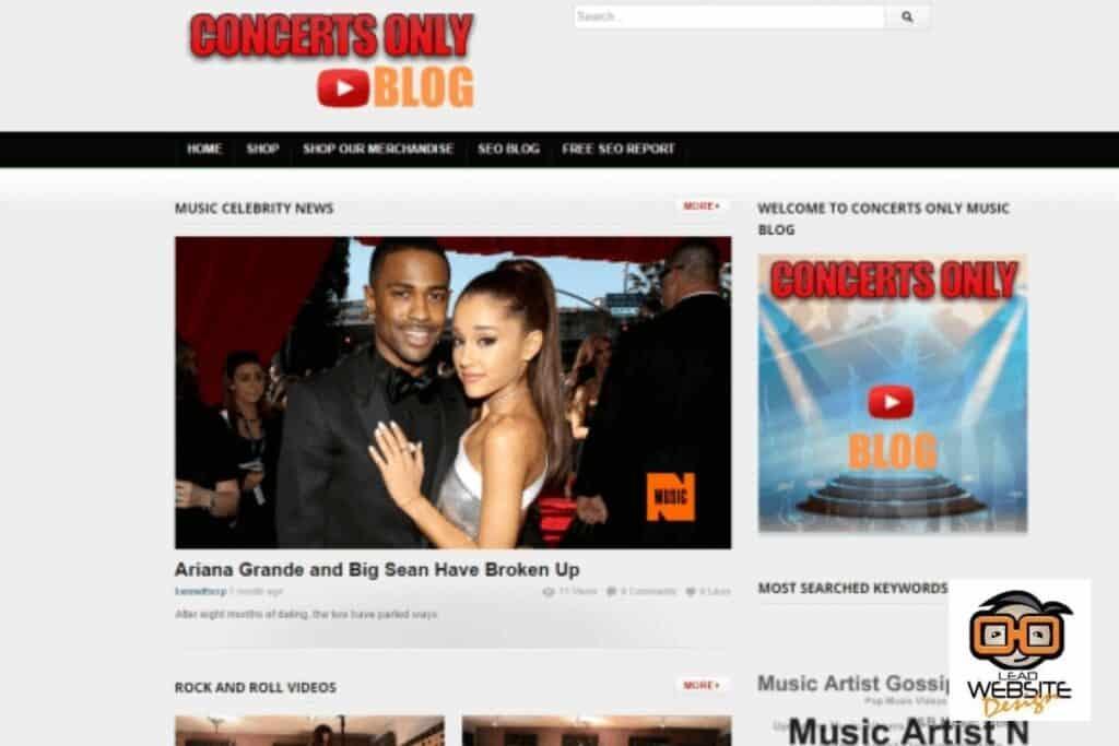 concerts only blog website design project