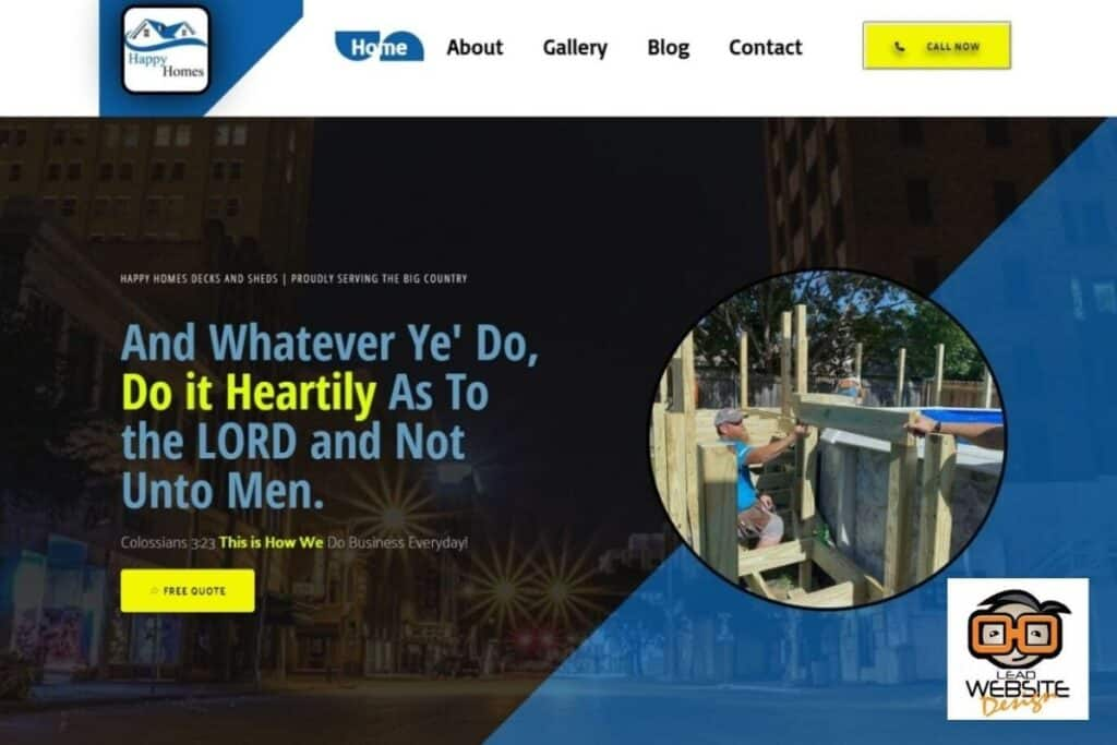 happy homes decks and sheds website design project